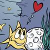 zum Beispiel: Weinetikett Golf Fischteich